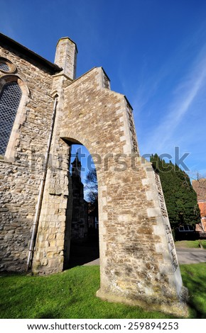 A Flying buttress supports a corner of the Parish Church of St Mary the Virgin in Rye, Sussex, England, UK.