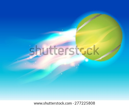A flying tennis ball in flames in the sky illustration.