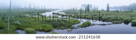 A foggy dawn at Brown's Tract Inlet off Raquette Lake in the Adirondack Mountains of New York - stock photo