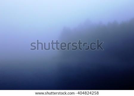 A foggy, hazy treeline on the edge of a lake.  - stock photo