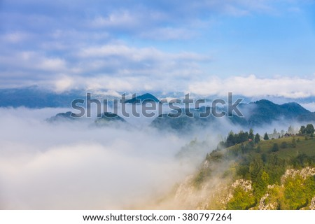 A foggy morning in the Carpathian mountains in early autumn.