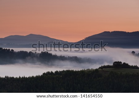 A foggy mountain landscape, Carranza, Bizkaia, Spain - stock photo