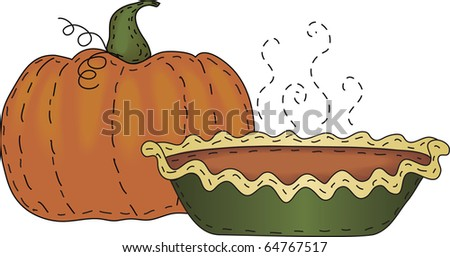 A folk art styled pumpkin and pumpkin pie