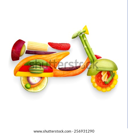 A food concept of a classic retro scooter Vespa for summer travelling made of fruits and vegs isolated on white. - stock photo