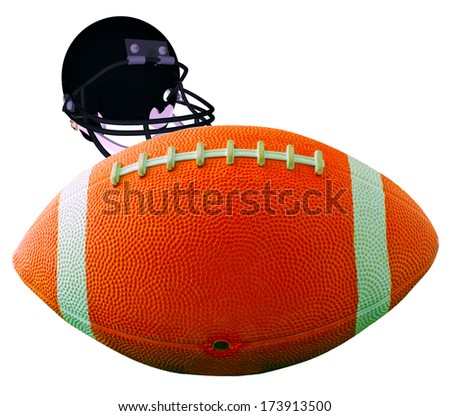 A football for american football isolated over white with helmet on the back - stock photo