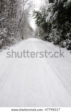 A footpath covered in snow with trees in the background - stock photo