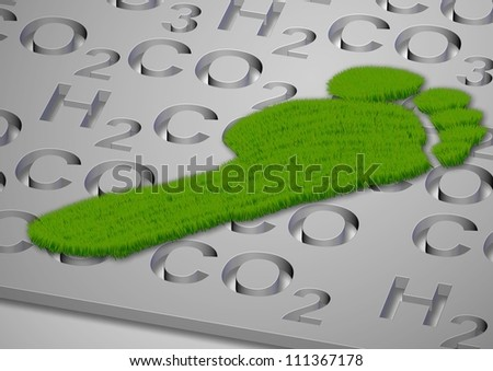 A footprint made from grass with carbon compounds formulas under it / Carbon footprint in grass - stock photo