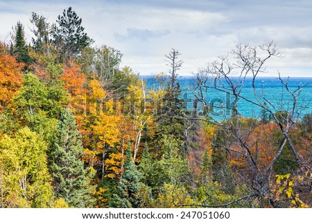 A forest of fall foliage over looks Lake Superior near Au Sable point in Upper Peninsula Michigan's Pictured Rocks National Lakeshore. - stock photo