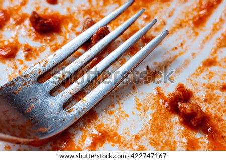 A fork on an empty used white plate with remains of tomato sauce