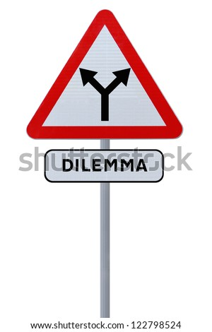 A forked road sign implying choice or dilemma