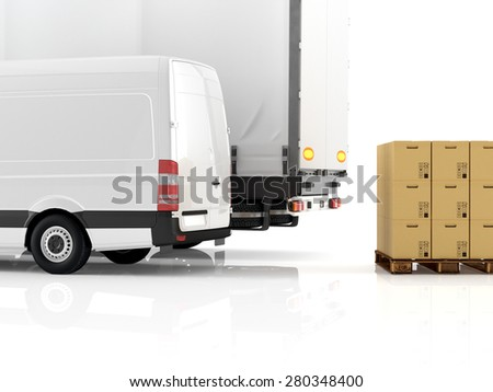 a forklift loading a truck. 3d rendering - stock photo