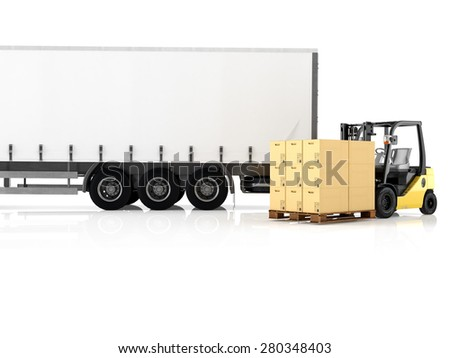 a forklift loading a truck. 3d rendering