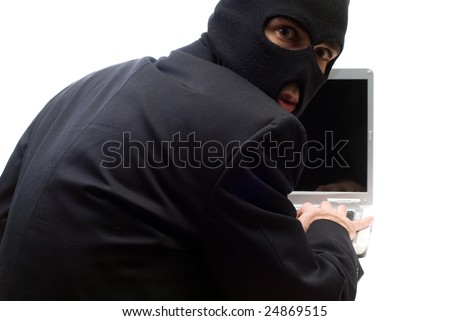 A former employee is stealing company information, isolated against a white background - stock photo