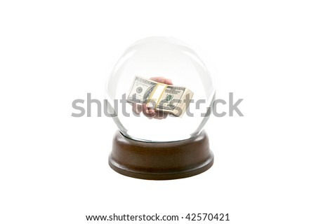 "a fortune teller crystal ball, shows a ghostly image of a a persons hand handing you the viewer ""Ten Thousand Dollars in cash"" isolated on white"