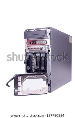 a four harddisk bay from a computer server - stock photo