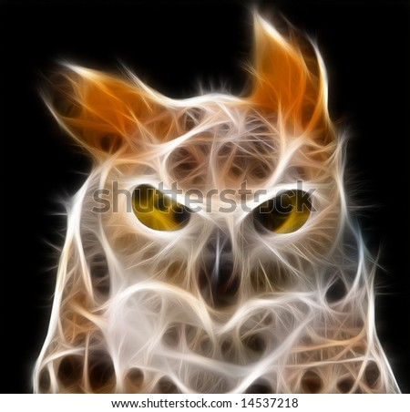 a fractal render of an owl