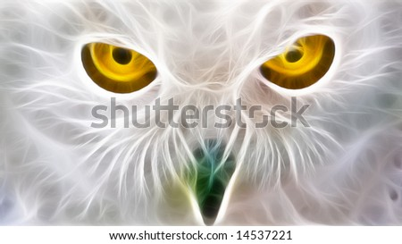 a fractal render of the piercing yellow eyes of a white owl
