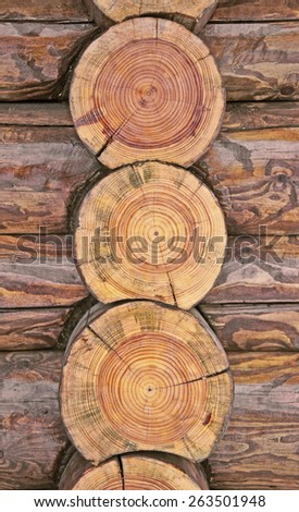 A fragment of a log cabin - stock photo