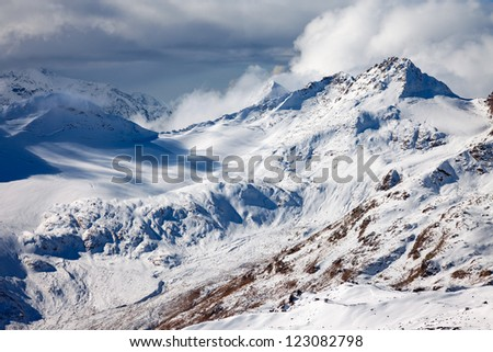 A fragment of Greater Caucasus Mountain Range - stock photo
