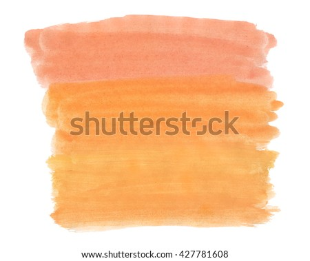A fragment of the background in orange tones painted with watercolors