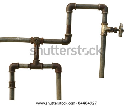 A fragment of the old water conduit consisting of pipes, fittings and valve - stock photo