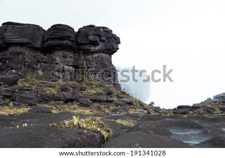 A fragment of the plateau of Roraima tepui (on background Kukenan tepui in mist) - Venezuela, South America - stock photo