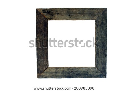 A frame made with real aged and weathered wood.  Generous copyspace. - stock photo