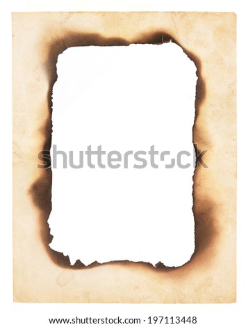 A frame or border formed from a very old, creased paper with the center burned away leaving a blank space. Isolated on white.