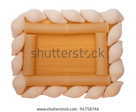 A frame with different cannelloni, pasta, spaghetti