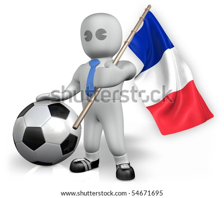 A France football fan with a ball and a flag - stock photo