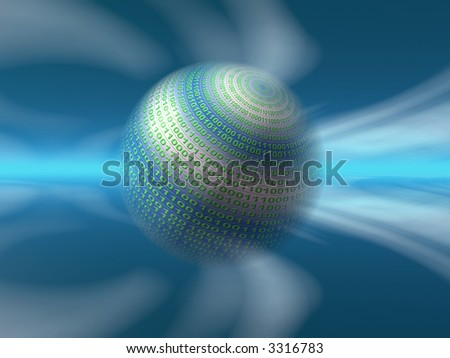 A free interpretation of a virtual server in the internet cosmos, data streams. 3D illustration, background - stock photo