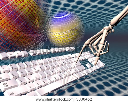 A free interpretation of an internet connection,  skeleton hand on keyboard, data streams.  Communication, surfing, addiction concept - stock photo