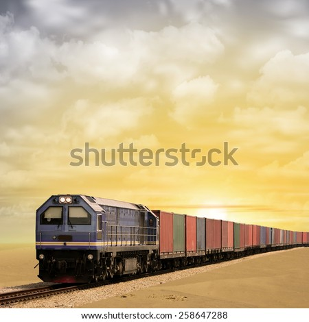 A Freight Train with  Sunset, Sunrise. - A manipulated photograph with some illustration elements. - stock photo