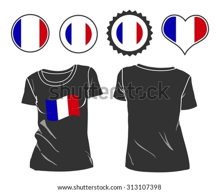 A French businessman rips open his shirt and shows how patriotic he is by revealing his countries flag beneath printed on a t-shirt. Raster version - stock photo