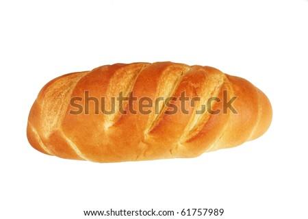 a fresh bread on white - stock photo