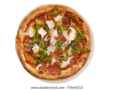 A fresh cheese and herb pizza plate isolated in white