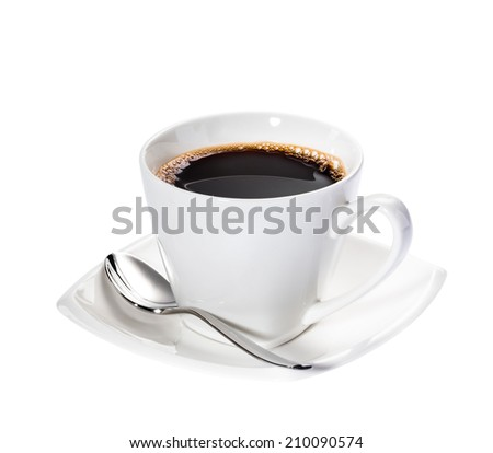 A fresh Cup of Coffee in a white cup and saucer isolated on white.