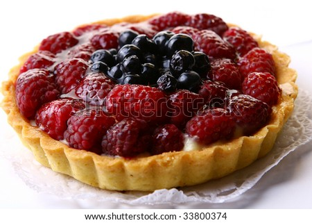 a fresh fruitcake with blueberry berry - stock photo