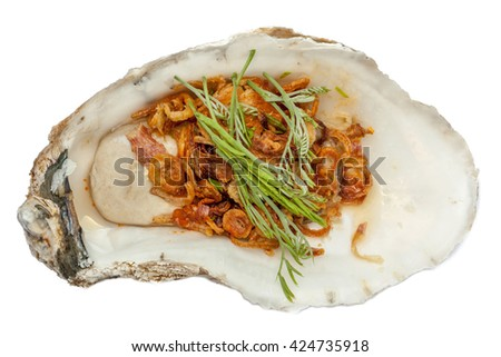 A fresh oyster topped with vegetable and sauce, the tasty Asian style dish. - stock photo