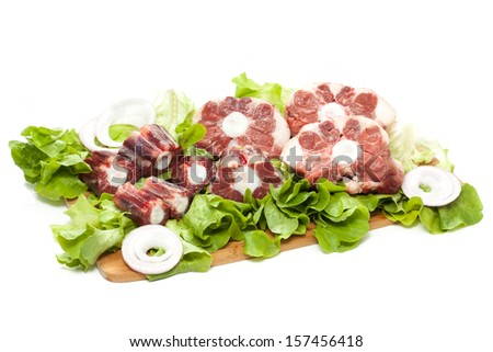 a fresh raw cut of oxtail of cow - stock photo