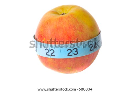 """A fresh ripe Fuji apple hybrid  sometimes cited as """"Rawls Jennet"""" apples) with a tape measure around it showing the apples circumference isolated on white.  - stock photo"""