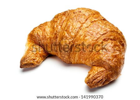 a fresh single croissant on white background - stock photo