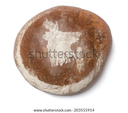 A freshly baked loaf of bread covered with rye flour in the shape of Bangladesh.(series) - stock photo