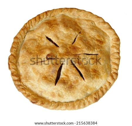 A freshly baked, whole and uncut apple pie isolated on white. The pie crust is golden brown. There are 6 steam release vents cut into the crust of the pie. The shot is taken from above. - stock photo