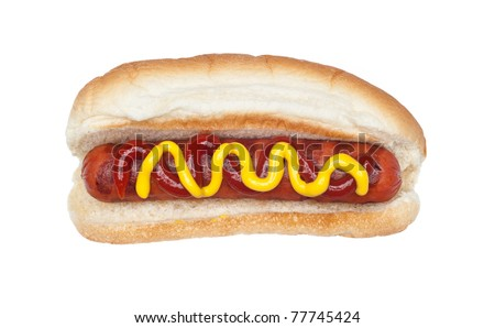 A freshly grilled hotdog on a bun with a stream of mustard and ketchup isolated on white. - stock photo