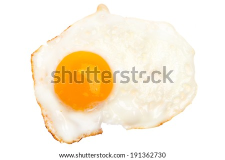 A fried egg isolated on white background