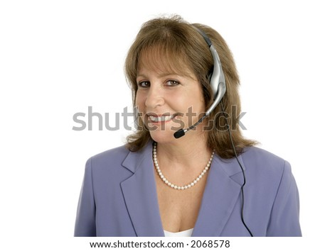 A friendly, pretty customer service representative is ready to help you.