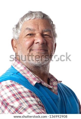 A friendly retired citizen is happy to age gracefully. - stock photo