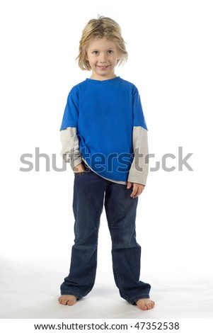 a frolic little boy on a white background