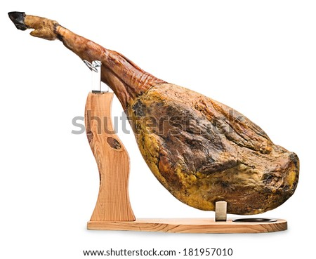A front leg of Serrano ham mapped on a wooden stand on a white background. - stock photo